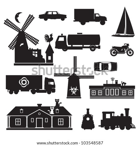 Silhouette - Miscellaneous Vector silhouette clip art of transportation and other. Black icons of various objects.