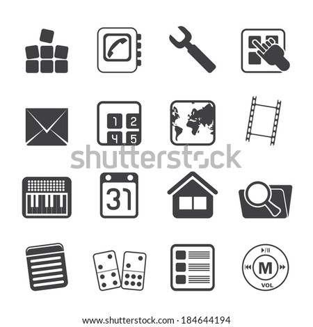 Silhouette Mobile Phone and Computer icon - Vector Icon Set - stock vector