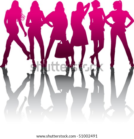 Silhouette models with reflection on white background - stock vector