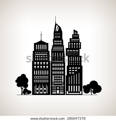 Silhouette Modern Big City with Buildings and Skyscraper, Architecture Megapolis, City Financial Center on a Light Background ,Black and White Vector Illustration - stock vector