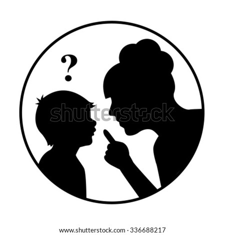 silhouette mother scolds a child and threatens finger. The child does not understand, above his head, question mark.