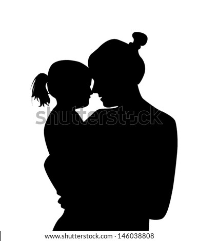 silhouette mother with a baby - stock vector