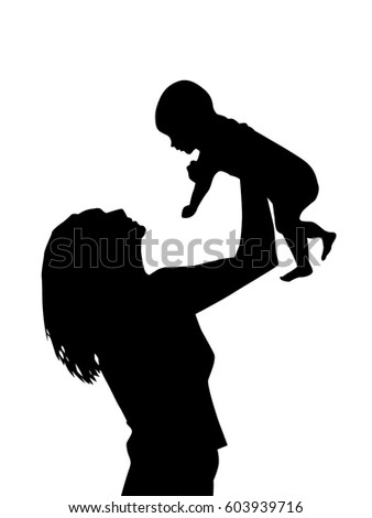 silhouette mother baby vector stock vector royalty free