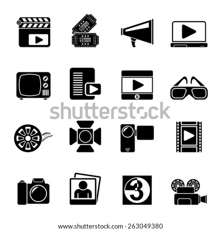 Silhouette Movie and cinema icons -vector icon set - stock vector