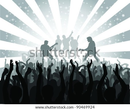 silhouette musical concert with the solemn background 2, vector - stock vector