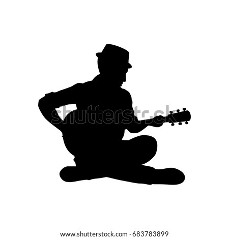 Silhouette Musician Plays Guitar Vector Illustration Stock ...