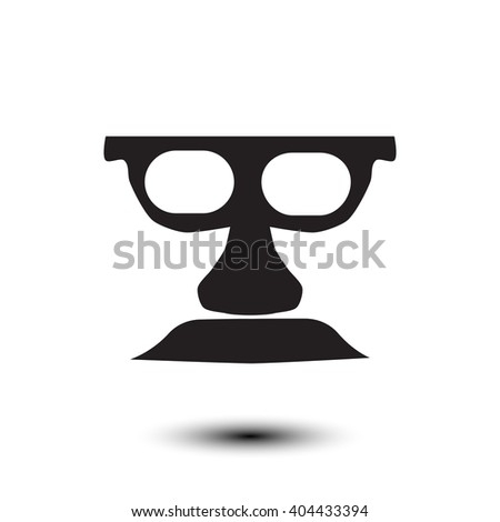 silhouette mustache, glasses, nose with shadow vector EPS 10 - stock vector