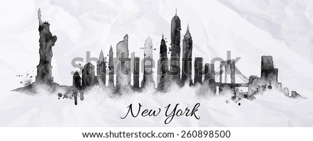 Silhouette New york city painted with splashes of ink drops streaks landmarks drawing in black ink on crumpled paper - stock vector