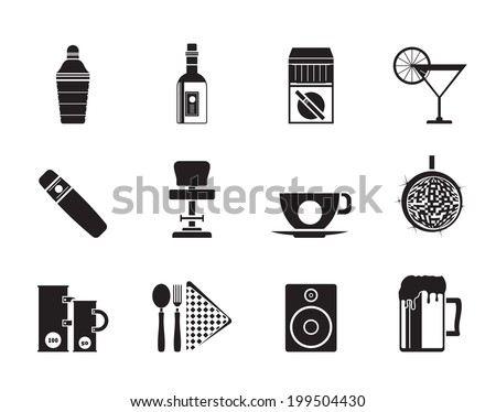 Silhouette Night club, bar and drink icons - vector icon set - stock vector