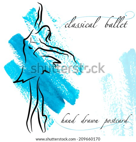 silhouette of a ballerina and abstract hand drawn watercolor brush strokes - vector illustration - stock vector
