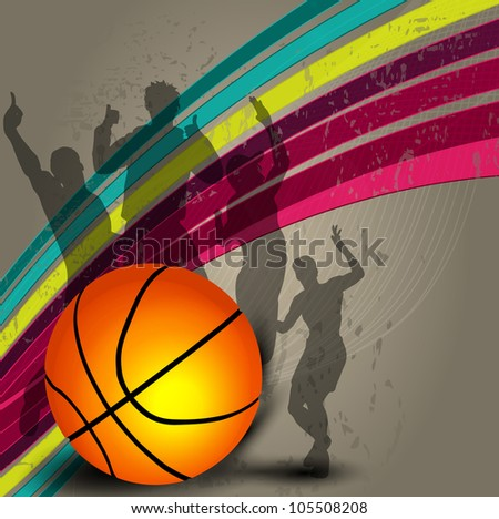 Silhouette of a basketball player and basketball on grungy colorful wave background with happy audience silhouette. EPS 10. - stock vector
