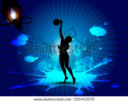 Silhouette of a basketball player at court with basket ball trying to goal on grungy rays background and cheering peoples silhouette. EPS 10