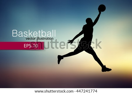 Silhouette of a basketball player. Background and text on a separate layer, color can be changed in one click. - stock vector