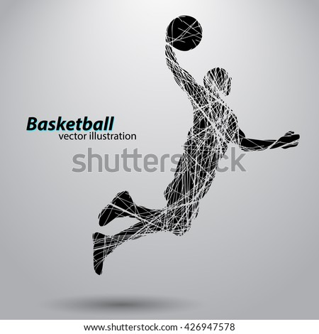 Silhouette of a basketball player from wires. Text on a separate layer, color can be changed in one click - stock vector