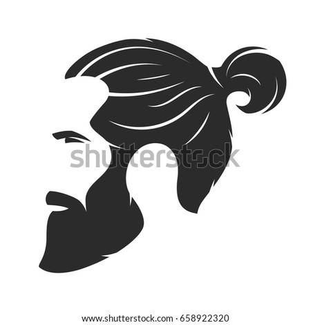 Set Vector Bearded Men Faces Hipsters Stock Vector