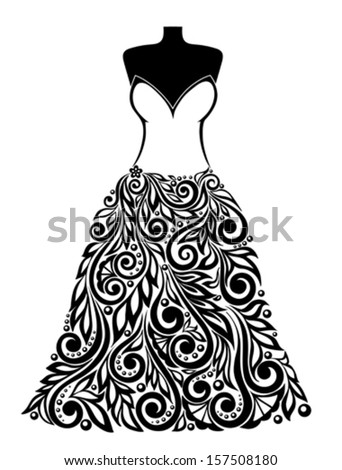 Silhouette of a beautiful dress with a floral element. Can be used for decoration of wedding cards. Many similarities to the author's profile - stock vector