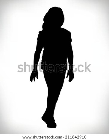 silhouette of a beautiful woman walking - stock vector