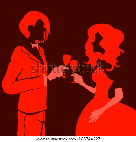 Silhouette of a beautiful young loving couple drinking champagne. Themes are romantic, wedding, love,happy, relationship. Vector image. Red and black colors.