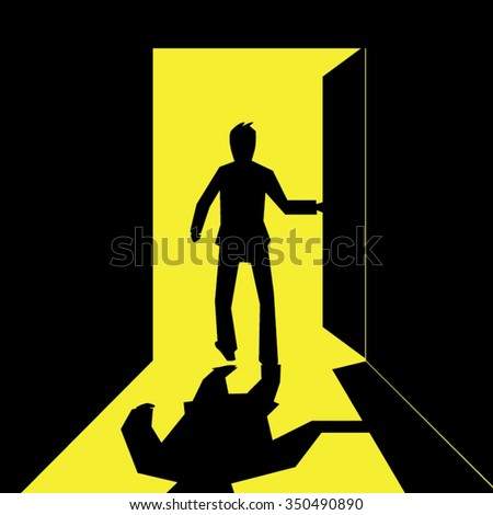 silhouette of a business man open and walking out  the door- vector - stock vector