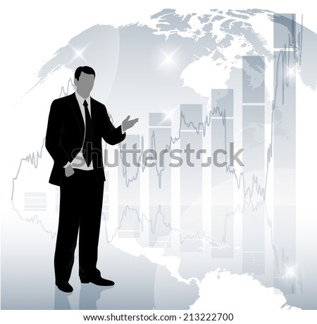 silhouette of a businessman in the background graphics economic development