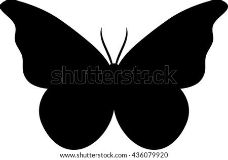 Silhouette of a butterfly.Black butterfly isolated on white background, dark shadow of Lime Butterfly, black and white butterfly - stock vector