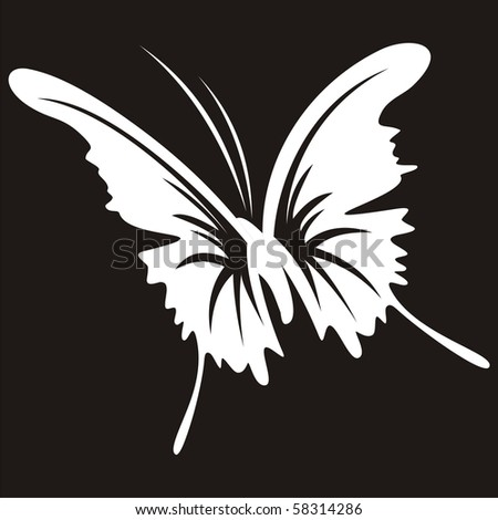 Silhouette of a butterfly on a black background - stock vector