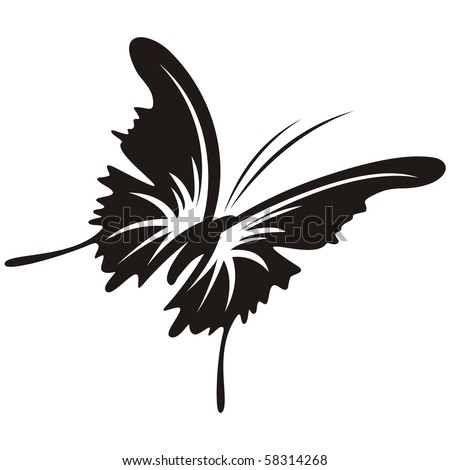 Silhouette of a butterfly on a white background - stock vector