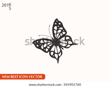 Silhouette of a butterfly vector icon - stock vector