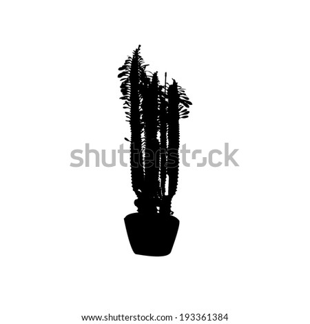 Silhouette of a cactus in a flowerpot. Vector - stock vector
