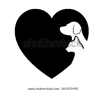 silhouette of a cat and dog in heart - stock vector