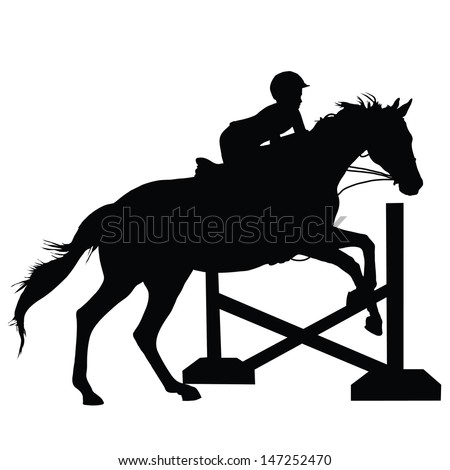 Silhouette of a child or young adult jumping a horse  - stock vector