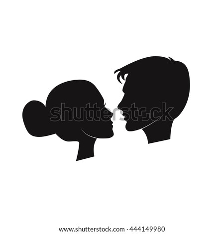 Silhouette of a Couple About to Kiss. Elegant silhouette of the bride and groom isolated on white background. Vector illustration