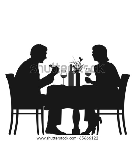 Silhouette of a couple in a restaurant - stock vector