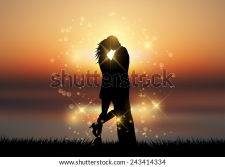 Silhouette of a couple kissing against a sunset sky - stock vector