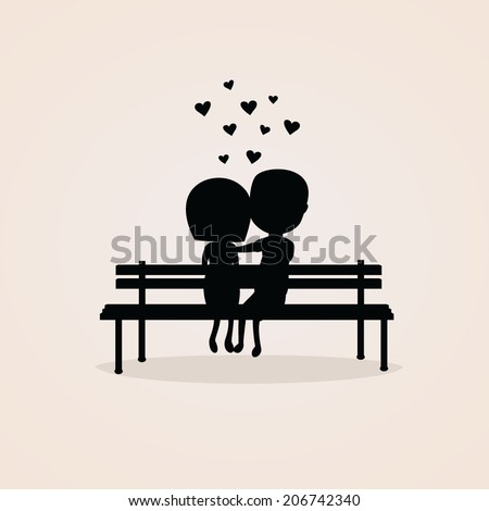 silhouette of a couple sitting on a bench - stock vector