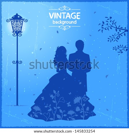 Silhouette of a couple walking down the street - stock vector