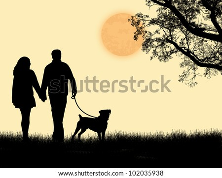 Silhouette of a couple walking their dog on sunset, vector illustration - stock vector
