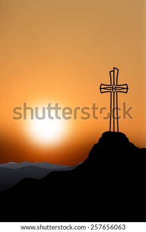 Silhouette of a cross on top of a mountain at sunset - vector illustration