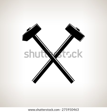 sledge hammer logo. silhouette of a crossed hammer and sledgehammer on light background, hand tool with sledge logo t