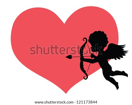 Silhouette of a cupid and a big red heart on the background. - stock vector