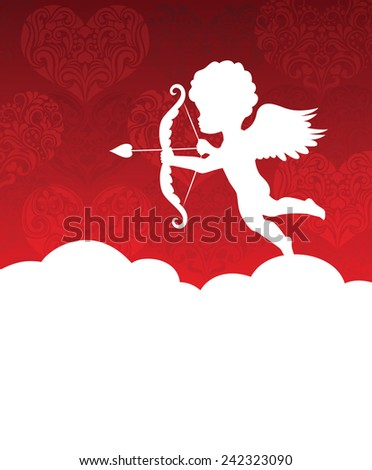 Silhouette of a cupid on the background with hearts.  - stock vector