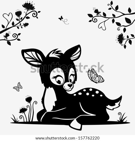 Silhouette of a cute black and white character fawn - stock vector