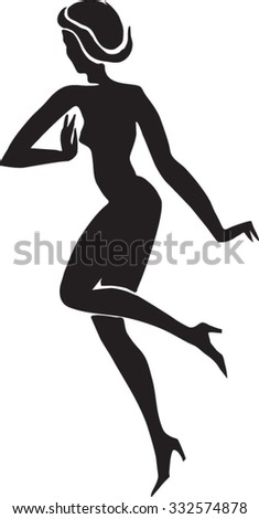 Silhouette of a dancing girl, vector image.