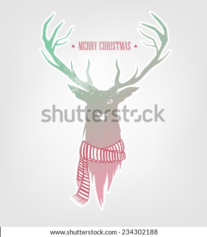 Silhouette of a deer with a scarf around his neck. Winter greeting card