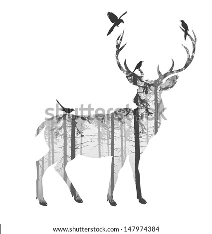 silhouette of a deer with pine forest and birds, black and white colors, white background, vector illustration - stock vector