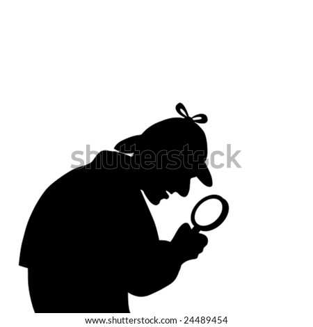silhouette of a detective with magnifying glass - stock vector