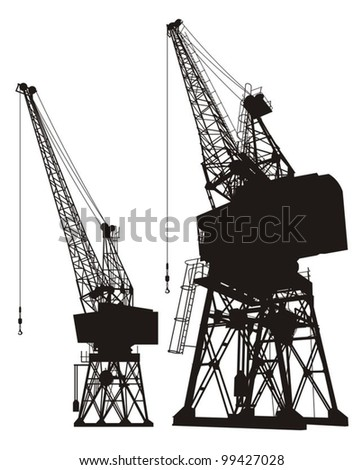 Silhouette of a dockyard cargo crane, two different angles. - stock vector