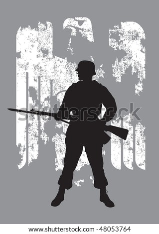 Silhouette of a enemy soldier with a rifle - stock vector