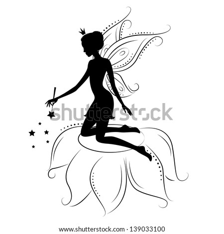 Silhouette of a fairy with magic wand. Vector illustration isolated on white background. - stock vector