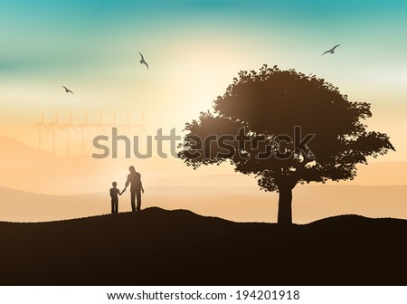 Silhouette of a father and son walking in the countryside - stock vector